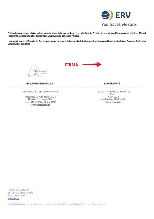 Seguro Viaje Rusia - Compañia Europea de Seguros - Documentación Póliza PDF online - Condiciones generales