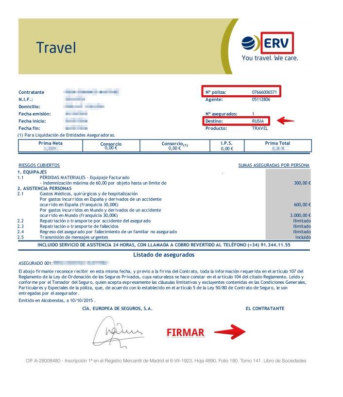 Seguro Viaje Rusia - Compañia Europea de Seguros - Documentación Póliza PDF online - Condiciones particulares