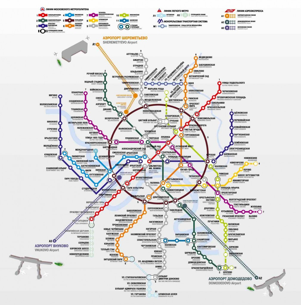 Connections between Aeroexpress and Moscow metro