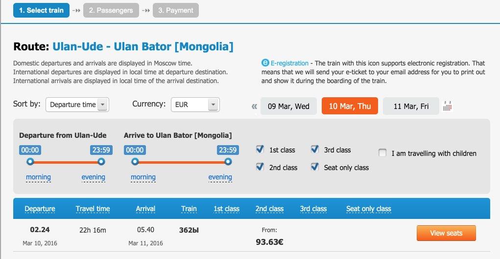 Zugfahrt mit dem Trans-sibirischen Ulan-Ude Ulan-Bator