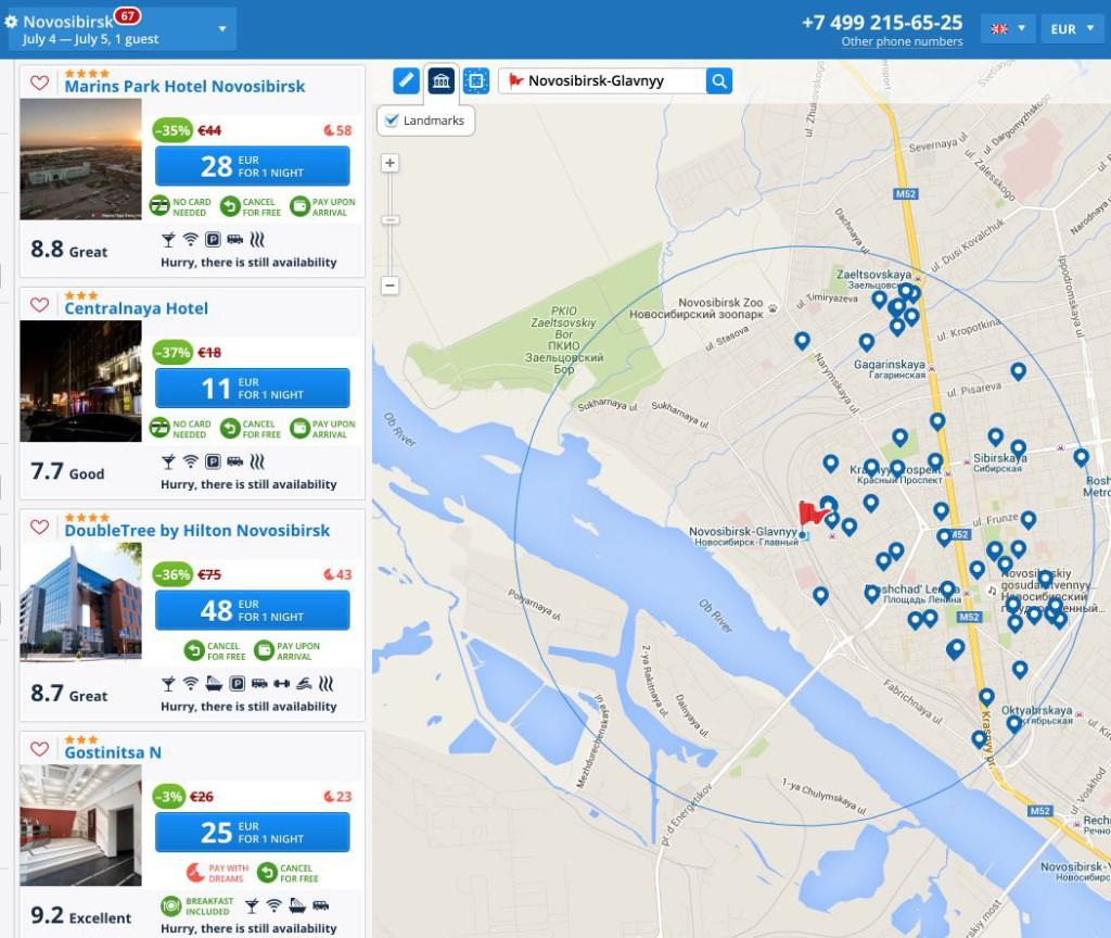 Novosibirsk-Glavnyy stazione ferroviaria - hotel map