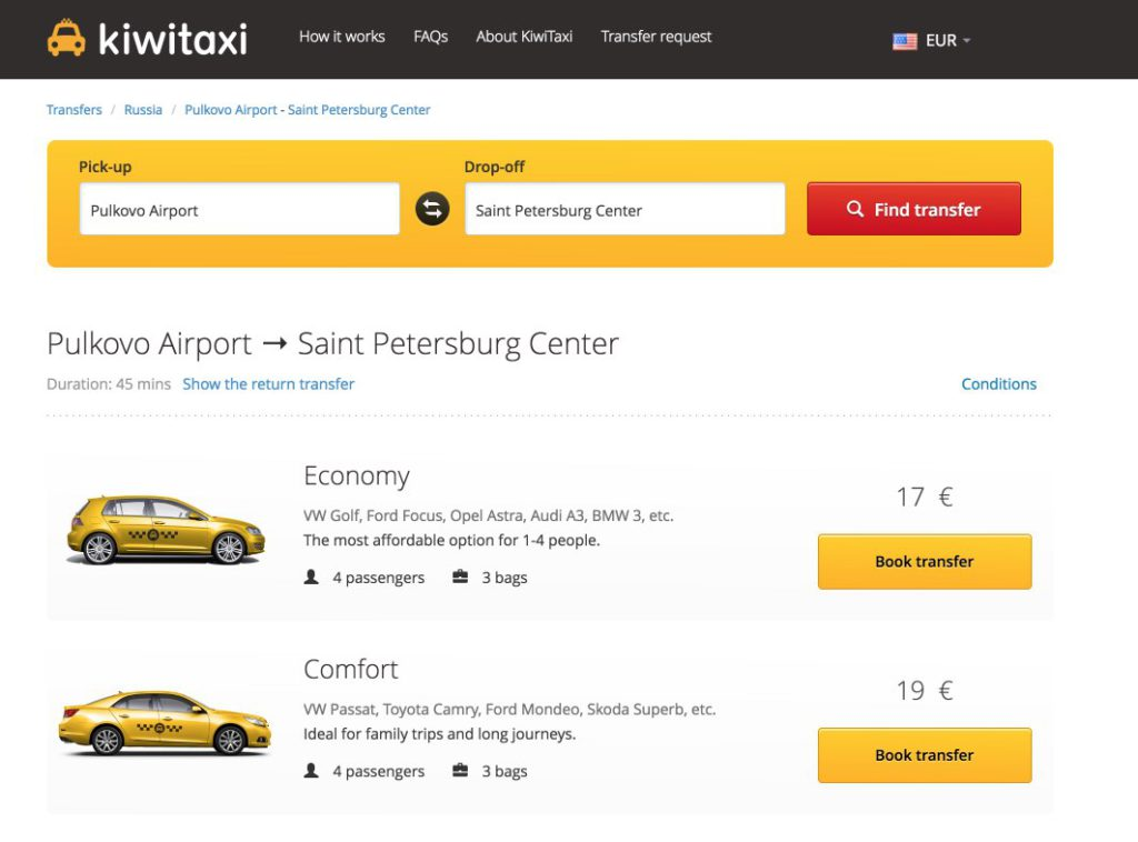 Booking taxi Pulkovo airport - St. Petersburg