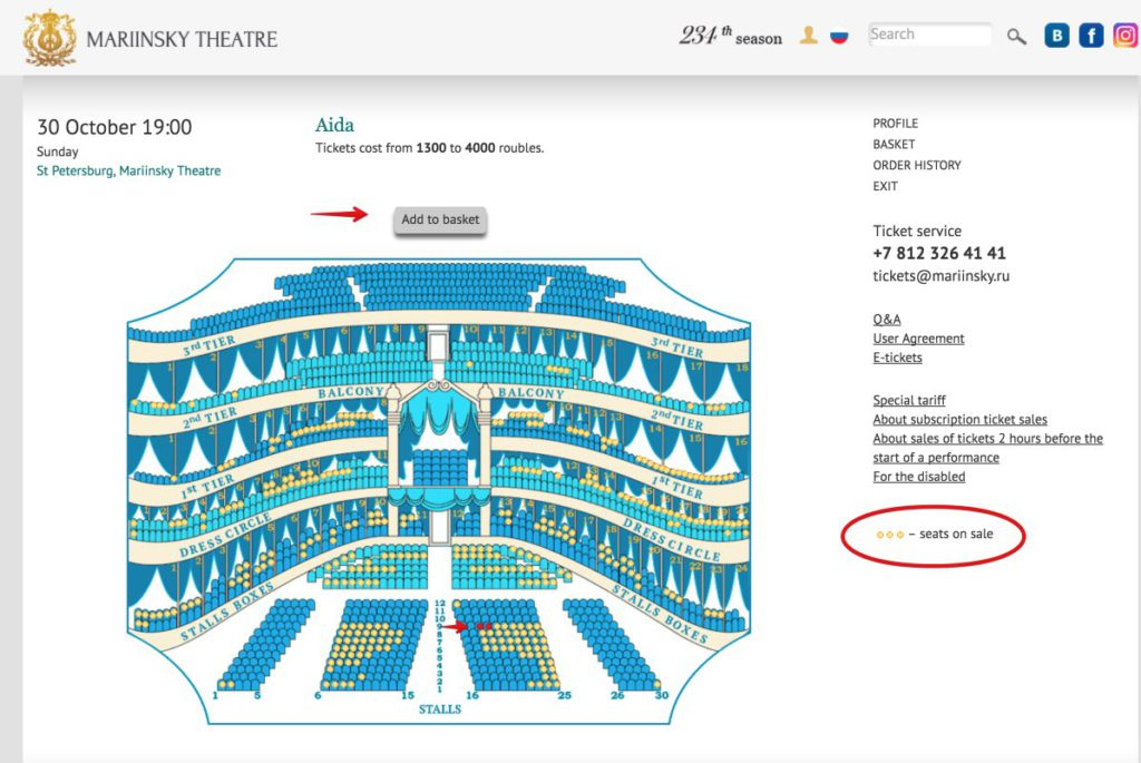 Booking tickets mariinsky theatre - choose seat