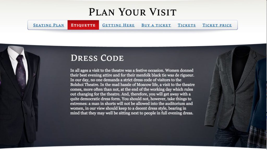 Dress code when attending a performance - opera russia