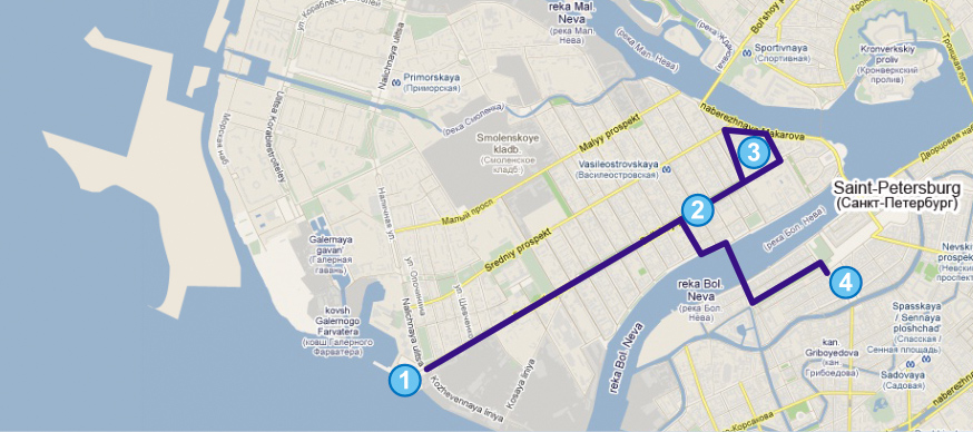 Shuttle Carte d'itinéraire st-peter-line