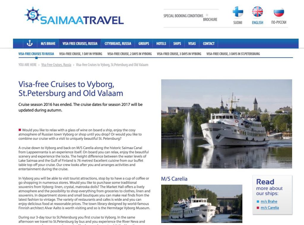 saimaa-travel-cruises to travel Russia without visa