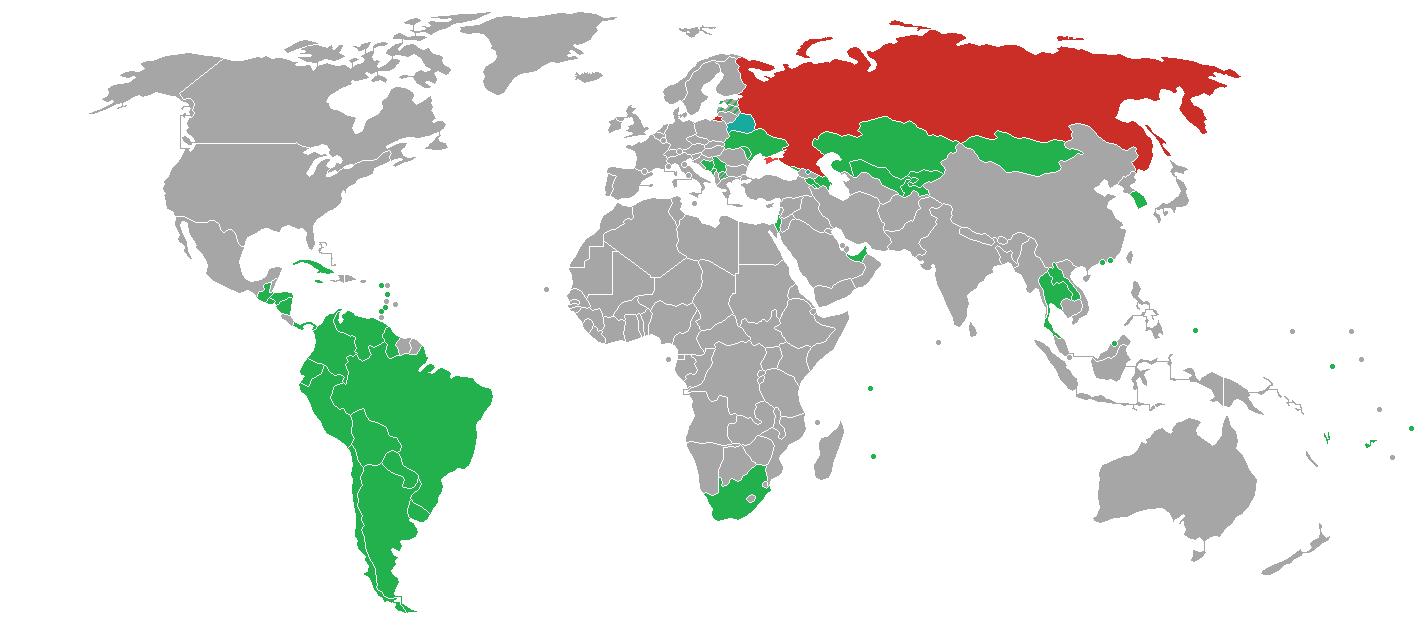 Politica de visados para entrar en Rusia - mapa