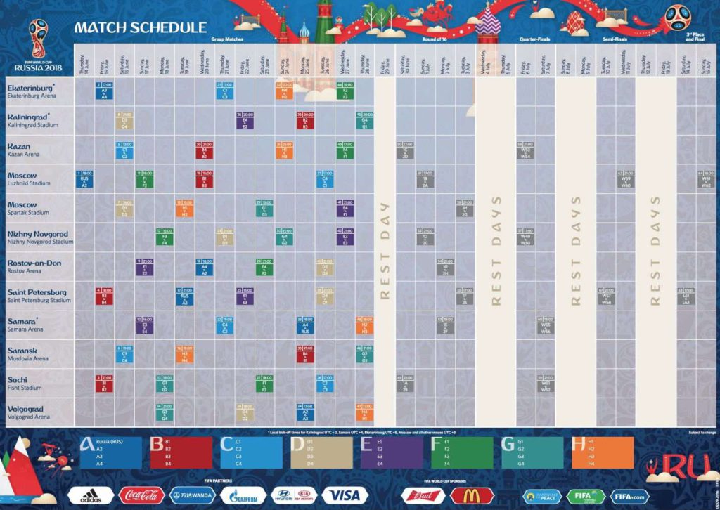 World Cup calendar in Russia 21018