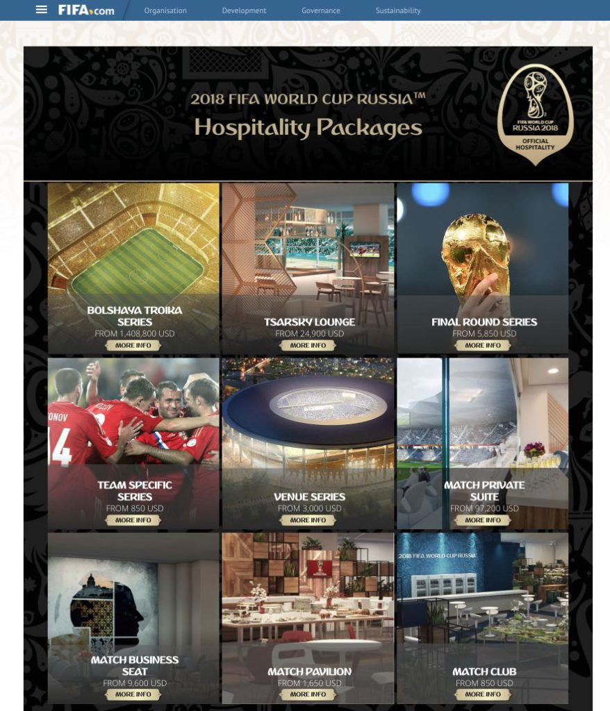 Hospitality packages 2018 World Cup Russia
