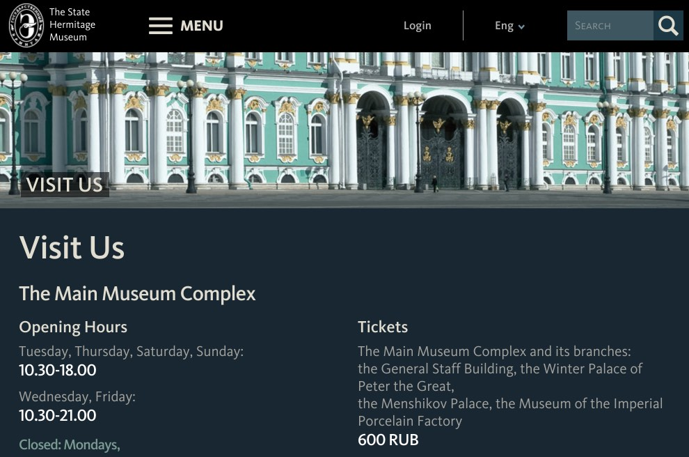 Hermitage Museum Timetables and Tickets