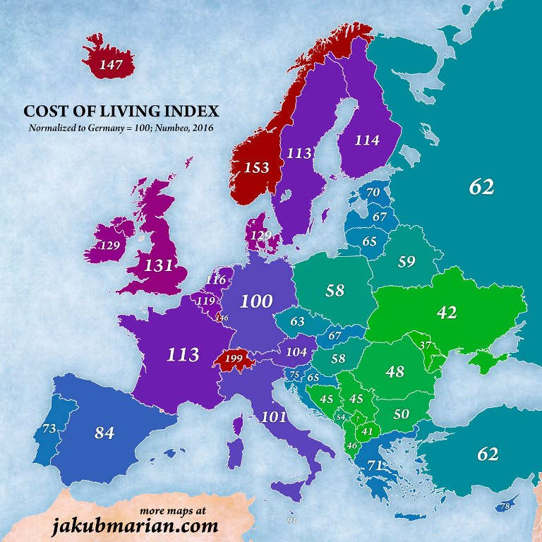 Cost life map in Russia an Europe