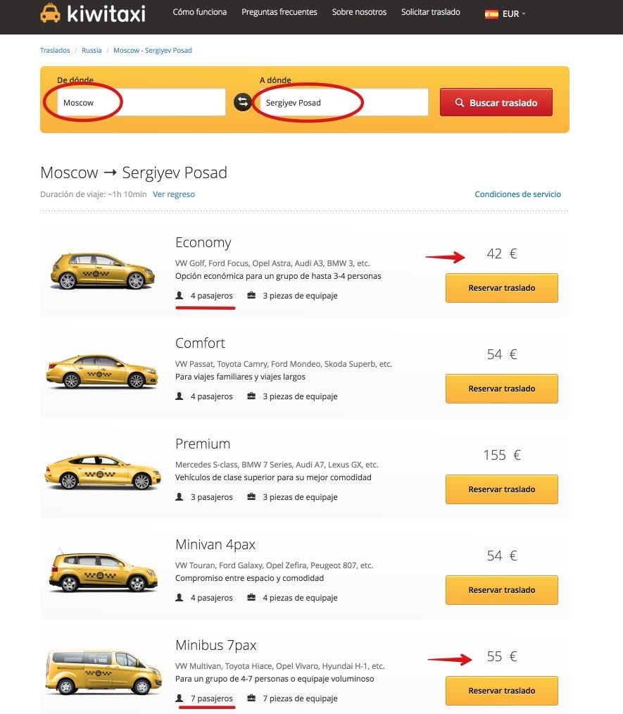 Taxi Moscou Serguiev Possad