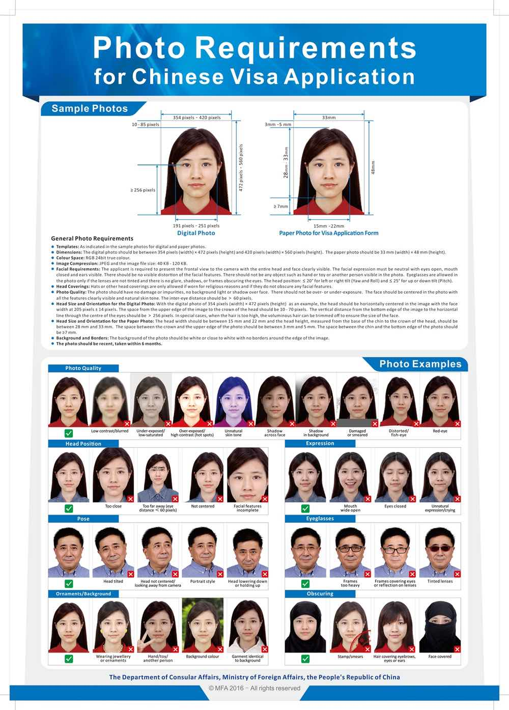 Requirement photography Chinese Visa