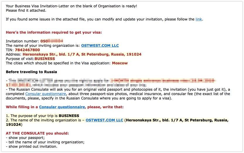 Email - Lettre d'invitation d'affaires avec iVisa