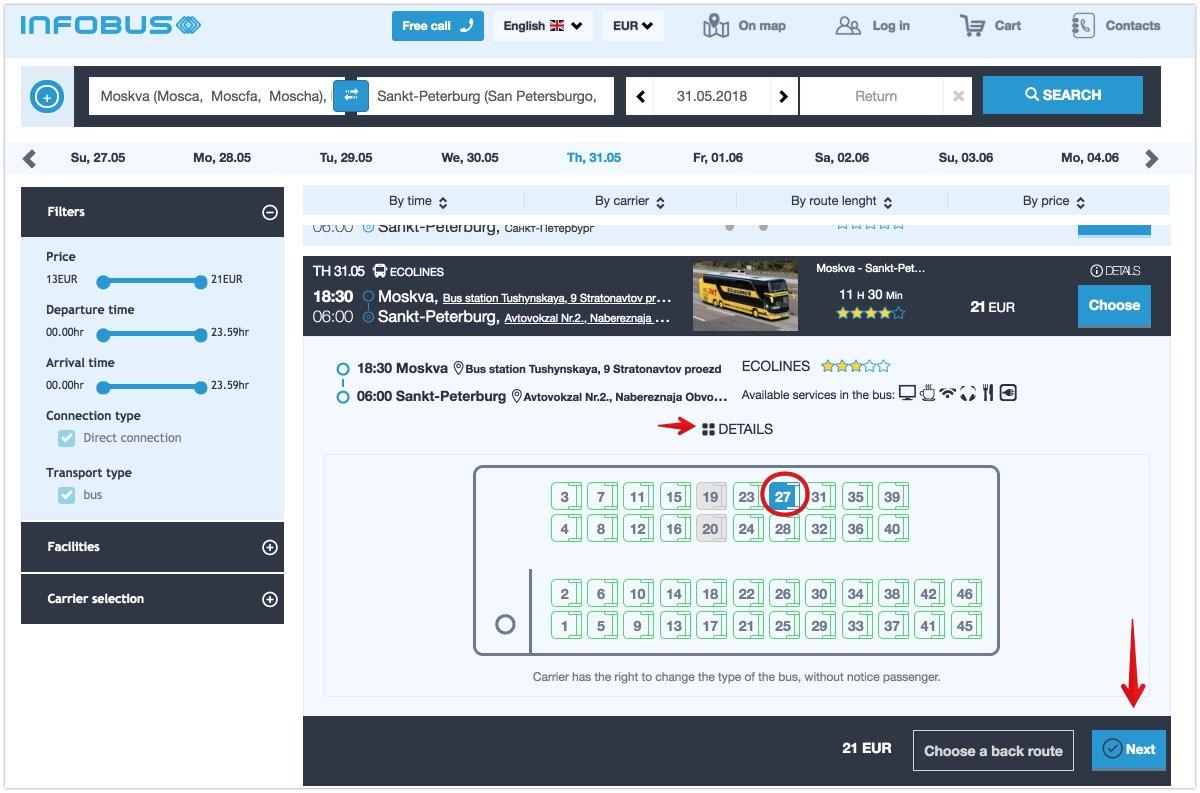 Compra i biglietti dell'autobus in Russia 2