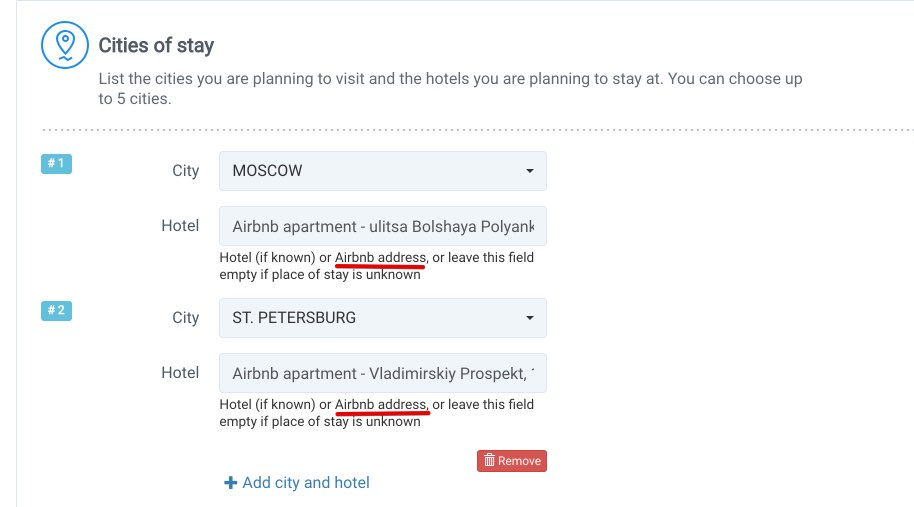 Invitation to Russia - Airbnb apartment - Russia Support