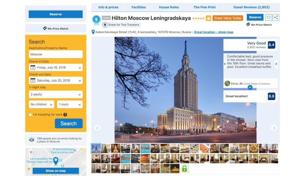 Hotel Hilton Moscou Leningradskaya - Russie - Booking