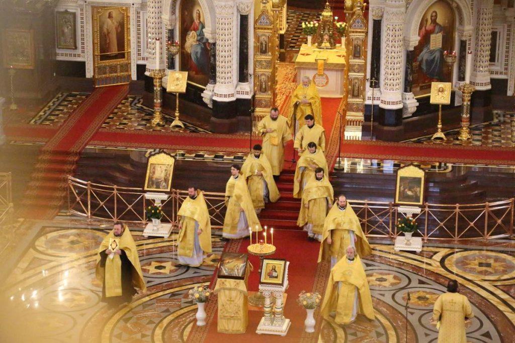 Orthodoxe Messe in der Kathedrale von Christus dem Erlöser