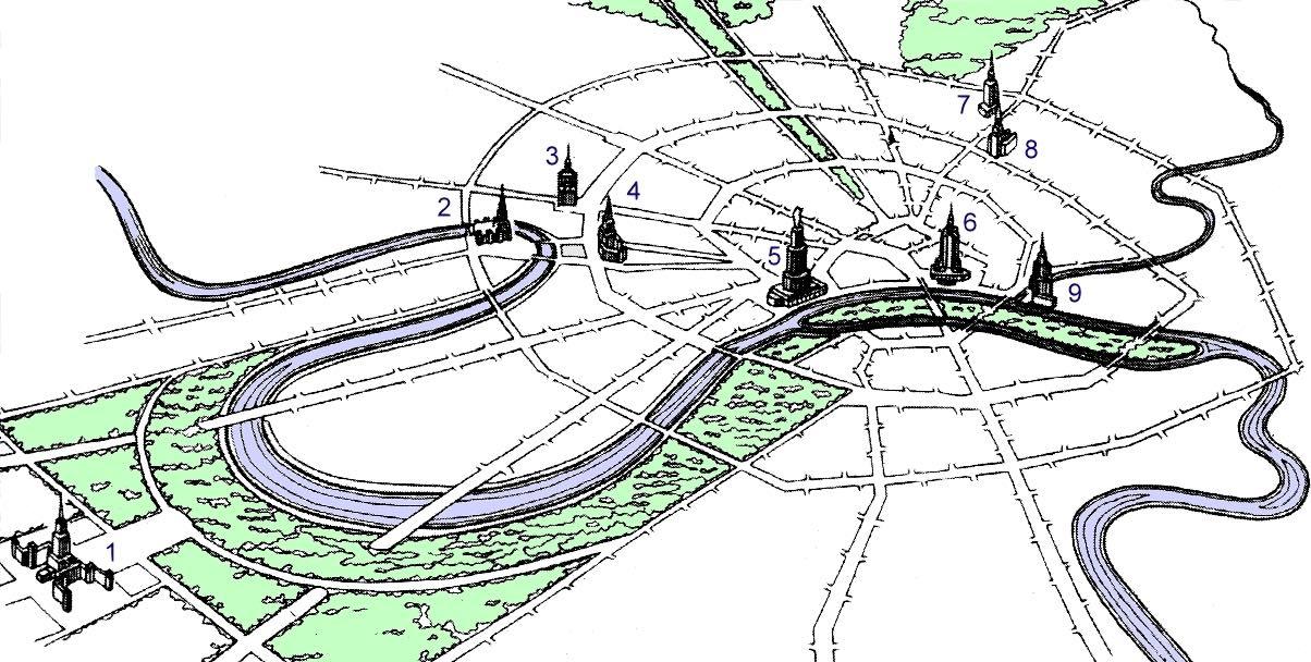 Planung der Stalin-Wolkenkratzer in Moskau