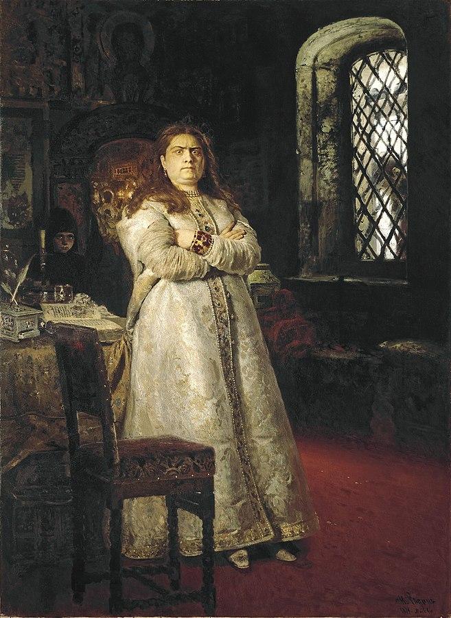 La Gran Duquesa Sofia en el Convento de Novodevichi - 1698