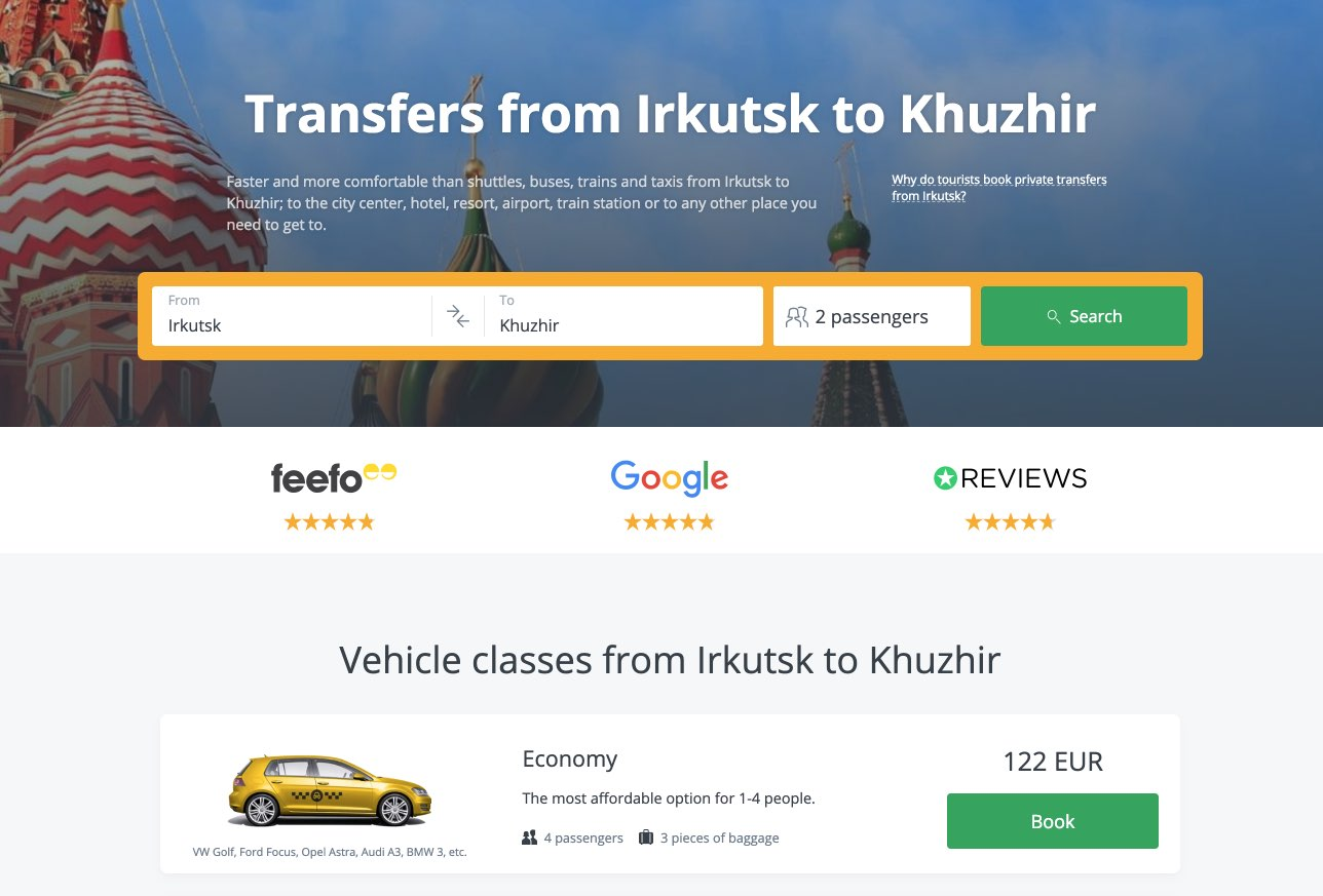 Transfer from Irkutsk to Khuzhir - KiwiTaxi