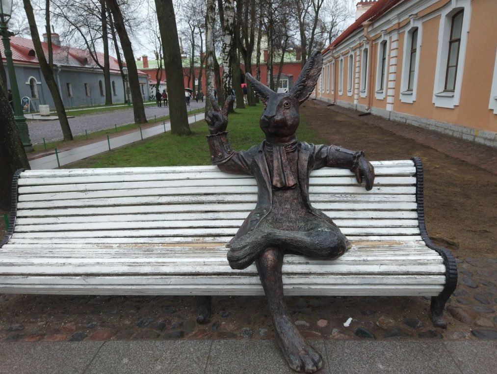 Hare sitting on bench in SS Peter and Paul Fortress