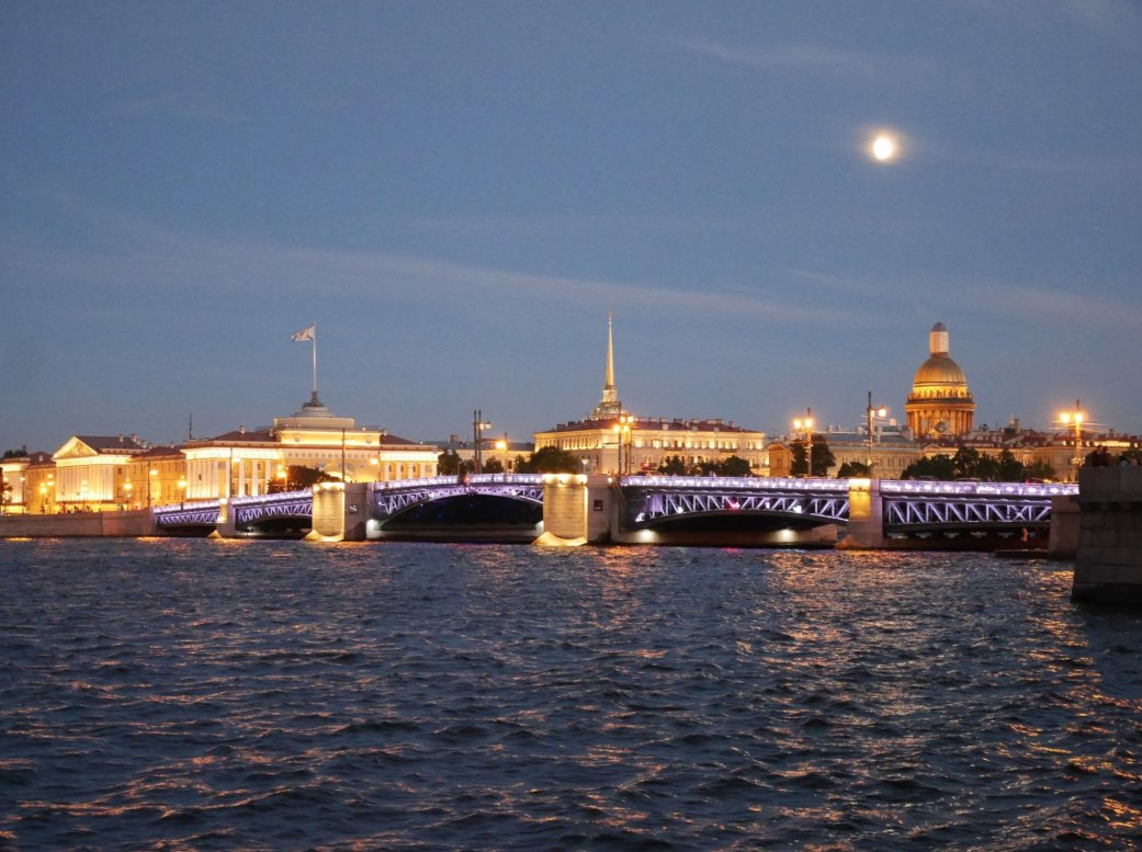 Night walk on the bridges and canals of St. Petersburg