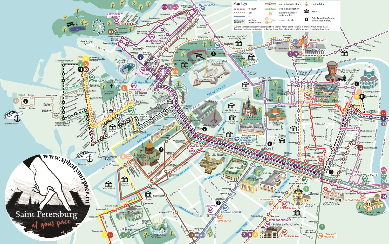 St Petersburg tourist map - City center - High resolution