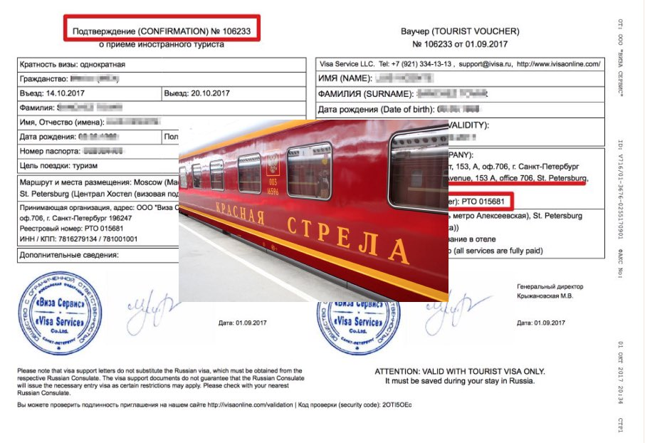 Sample letter of invitation to Russia with train nights