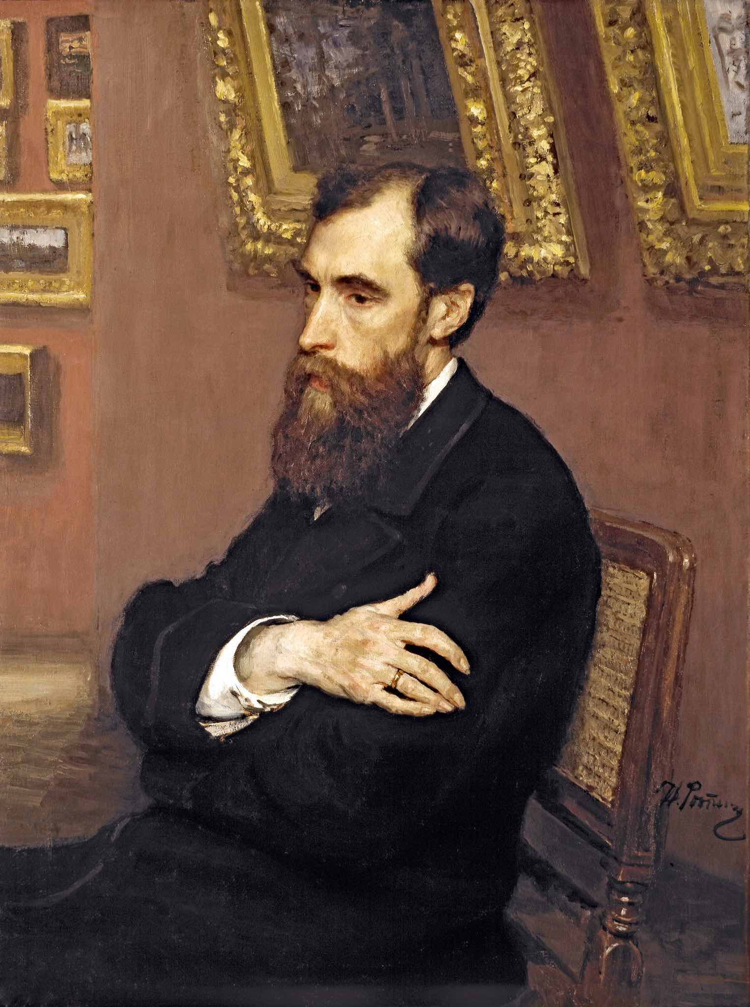 Portrait of Tretyakov by Ilia Repin of 1883