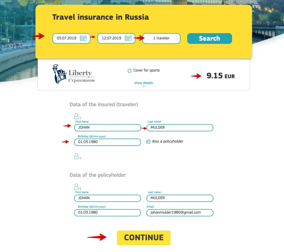 Russian e-visa medical insurance 1 - Cherehapa - Liberty Insurance