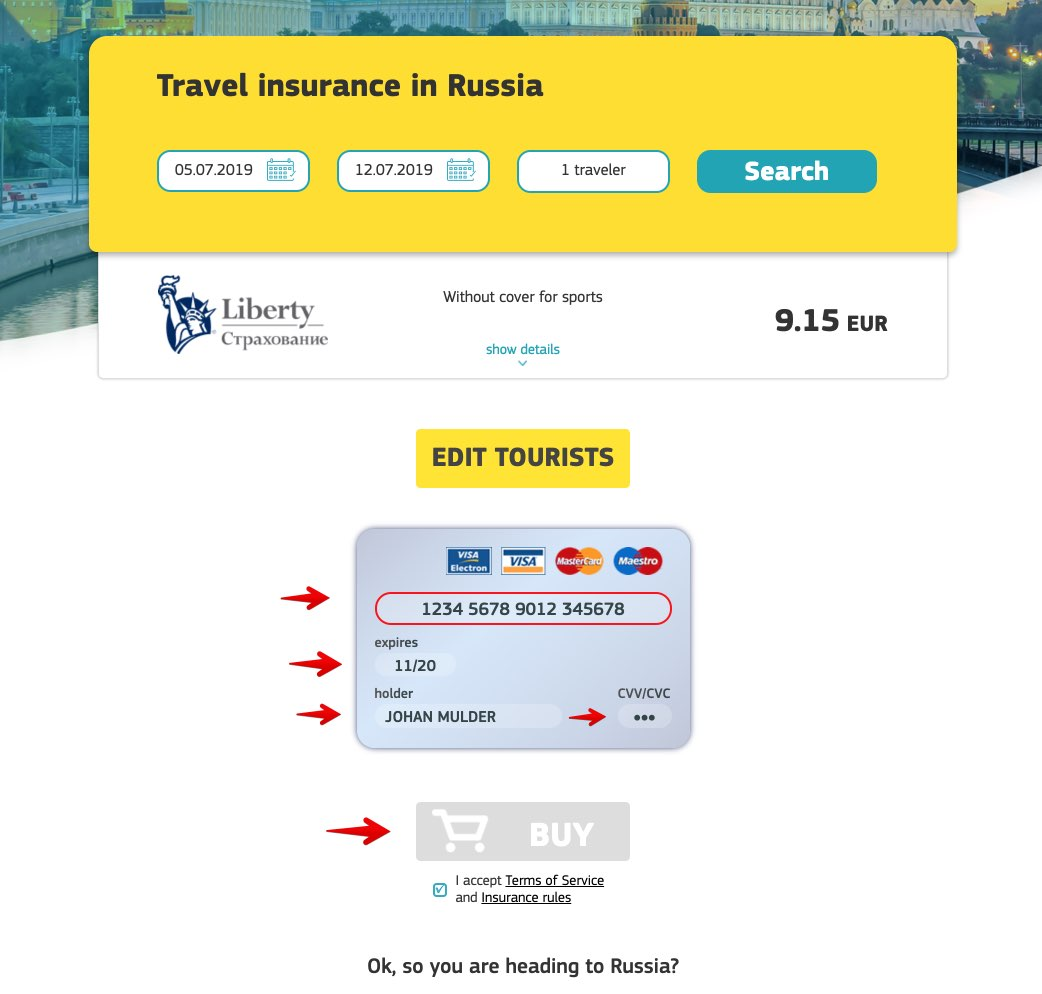 Russian e-visa medical insurance 2 - Cherehapa - Liberty Insurance