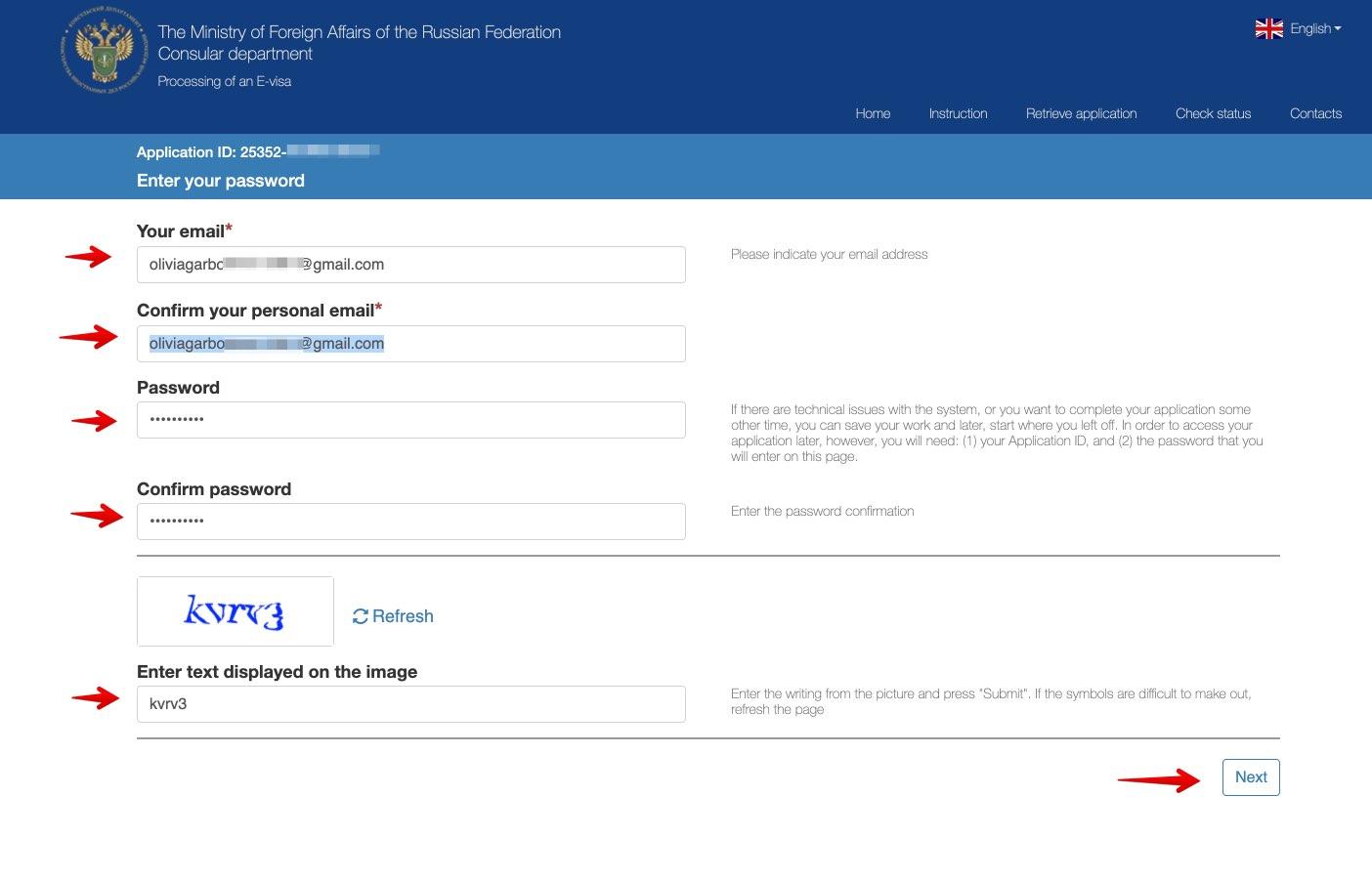 Søknad om e-visum for å reise til Russland - Konsulær avdeling for utenriksdepartementet i Den Russiske Føderasjon 3