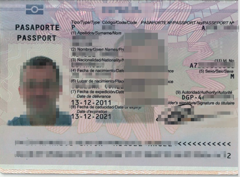 Scanned passport example