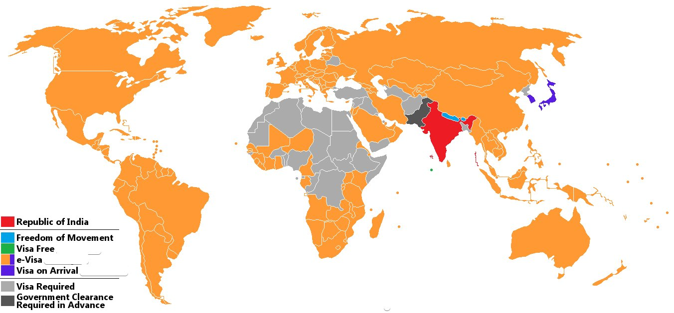 Visa policy map to India updated