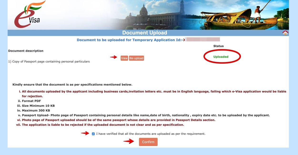 Apply for e-Visa to India - Step 12 bis