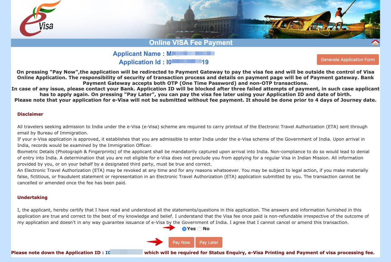 Apply for e-Visa to India - Step 14