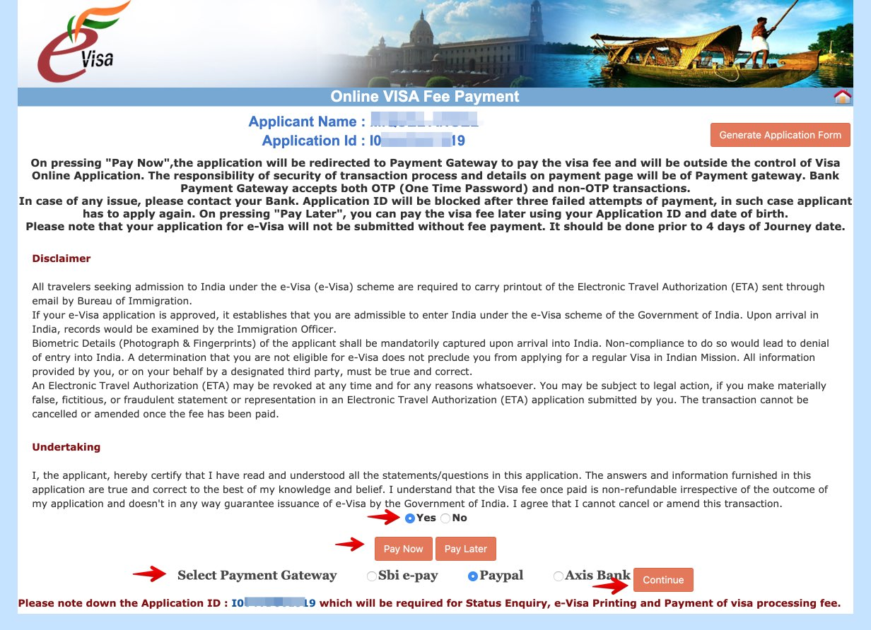 Apply for e-Visa to India - Step 15