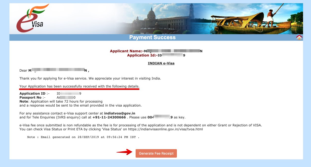 Apply for e-Visa to India - Step 19