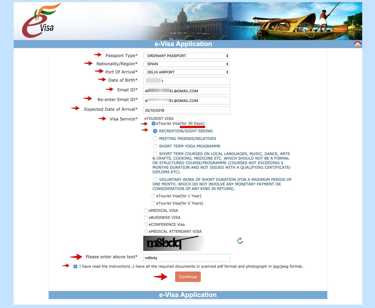 Apply for e-Visa to India - Step 2 bis