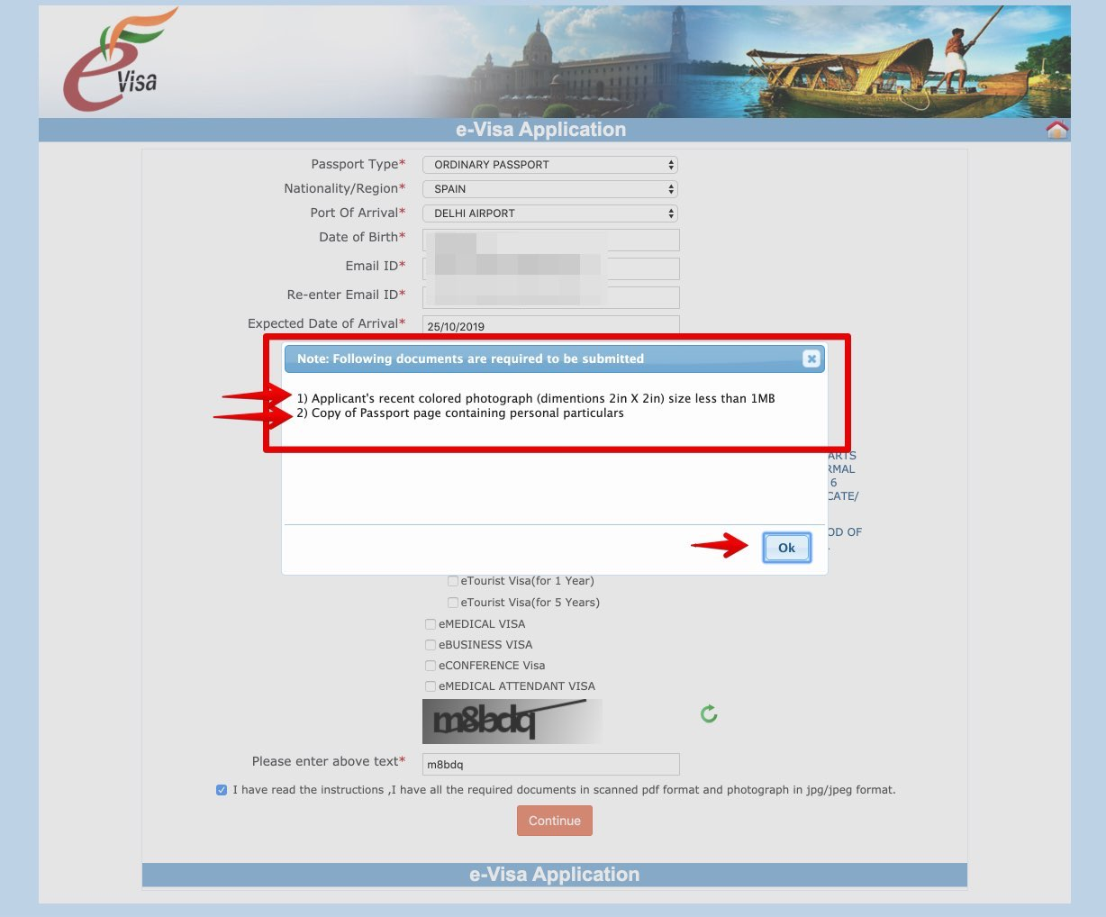 Apply for e-Visa to India - Step 3 bis