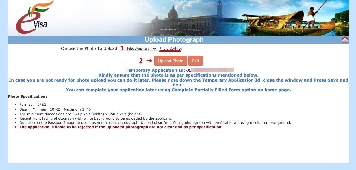 Richiedi l'e-Visa per l'India - Passo 8 bis