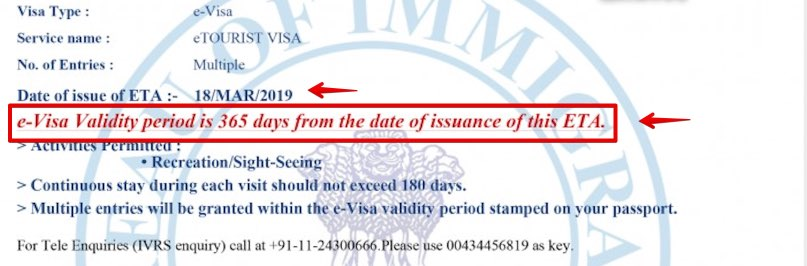 e-Visa to India Granted - 1 year