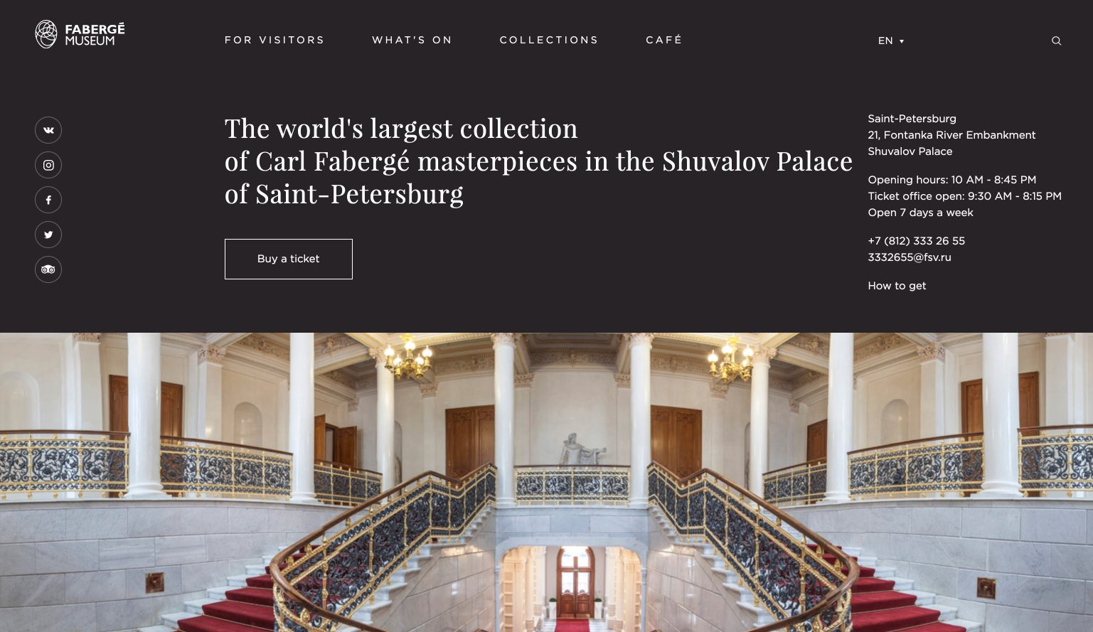 Website des Fabergé-Museums in St. Petersburg