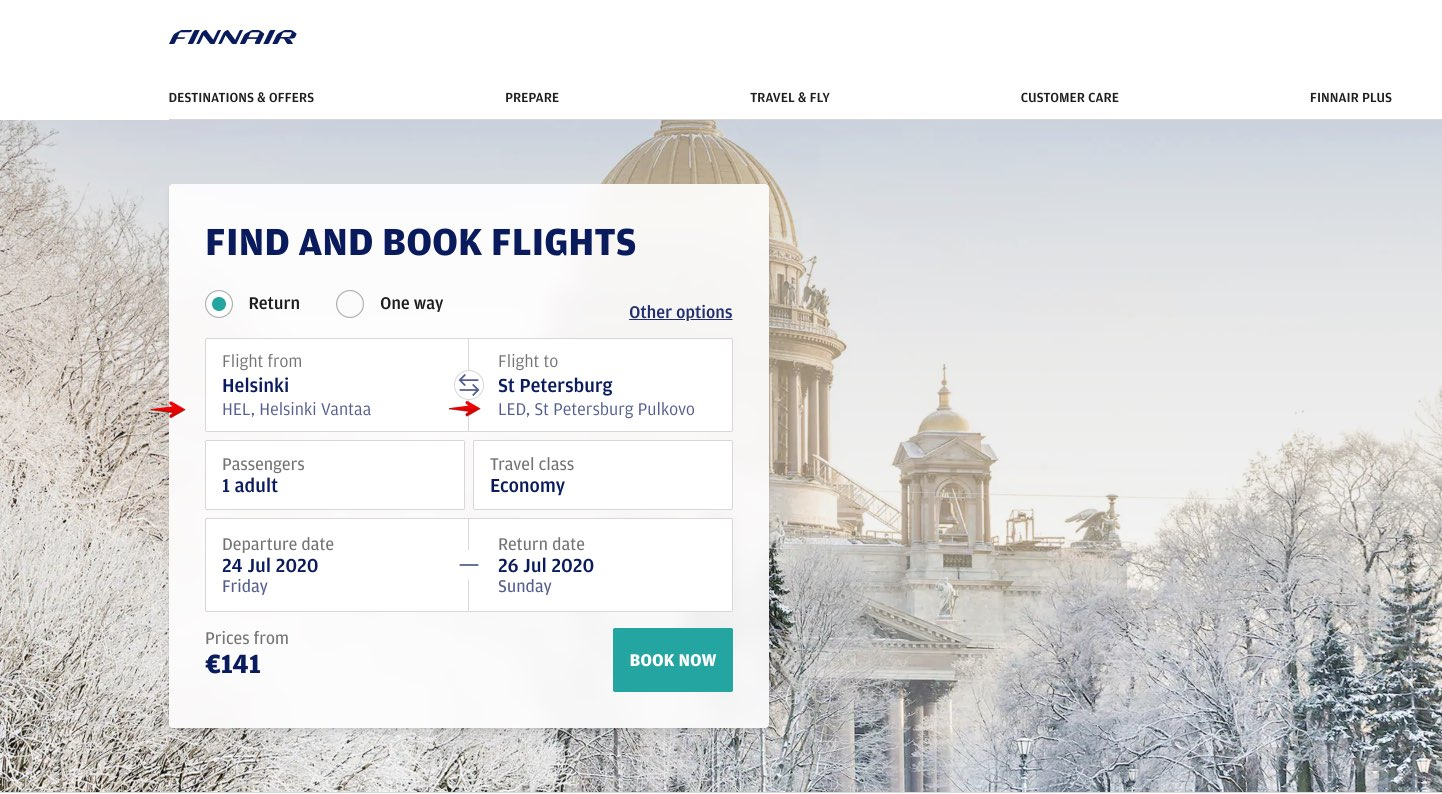 Billets d'avion de la compagnie aérienne Finnair de Helsinki à Saint-Pétersbourg