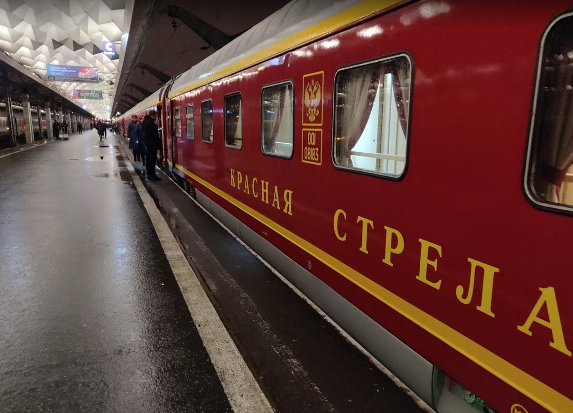 Red Arrow train at St. Petersburg Moskovsky Station
