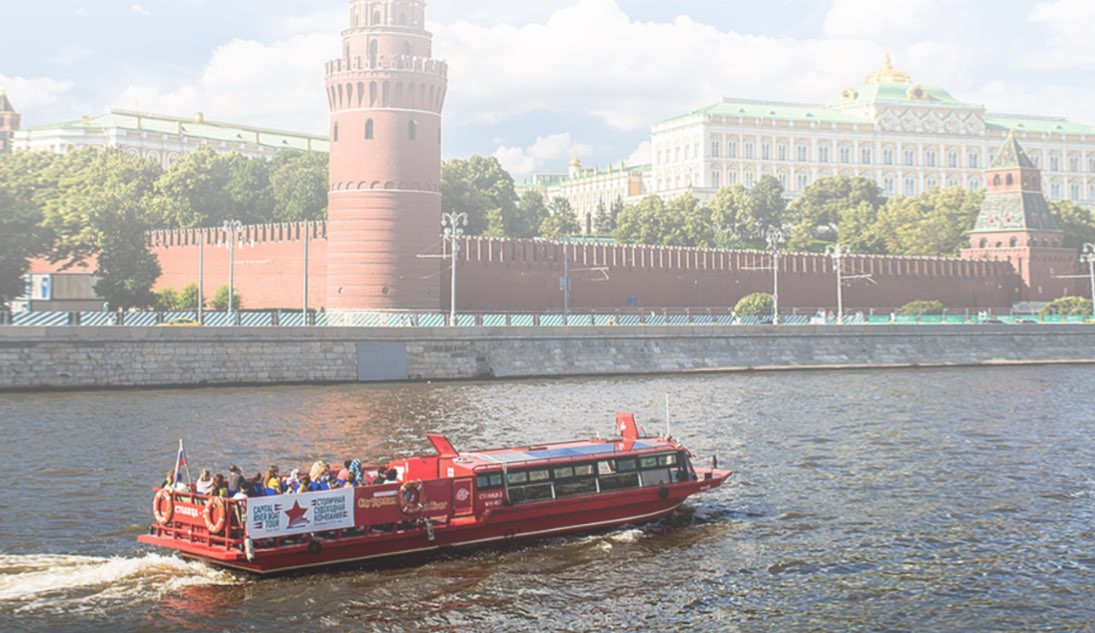 Tourist boat sight sighseeing in Moscow