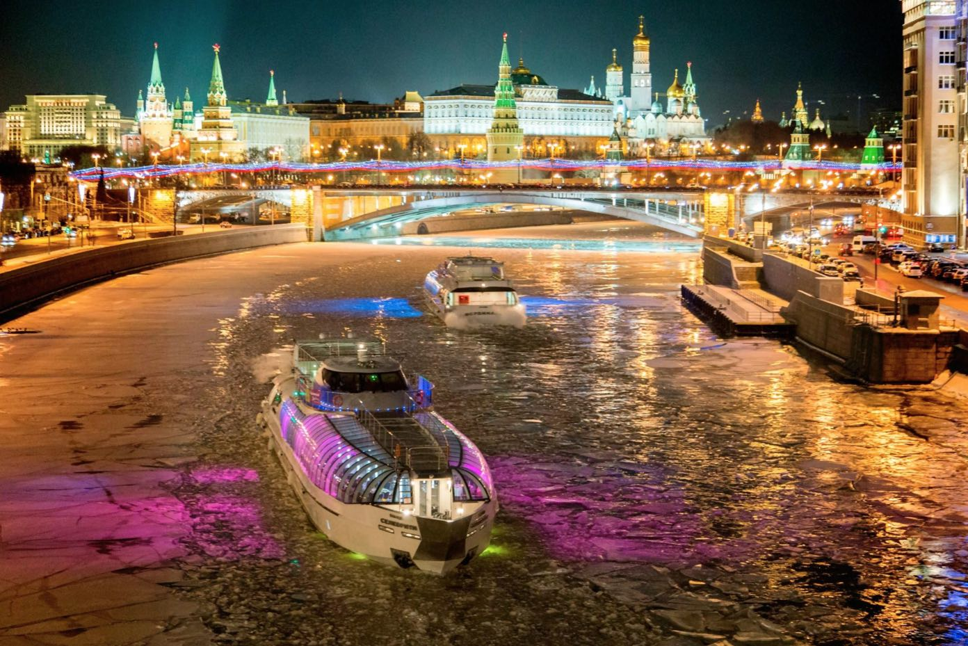 Radisson Flotilla boats in winter in Moscow