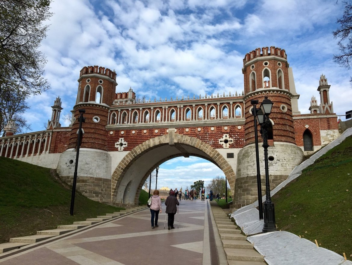 The ornate bridge of Tsaritsyno