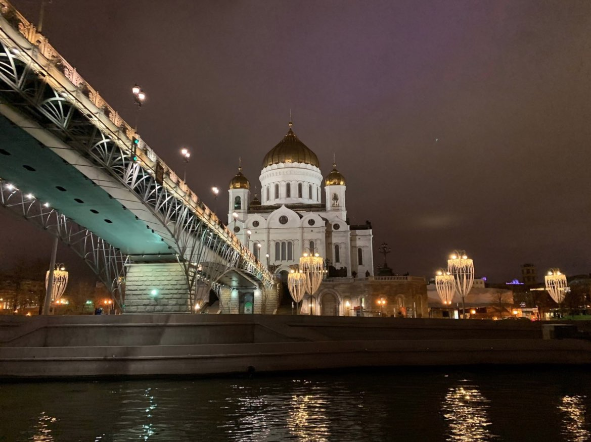 Boat trip in Moscow - Night views of the Cathedral of Christ the Savior